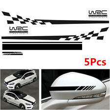 5Pcs WRC Checkered Flag Car Side Stripe Sticker Hood Rearview Mirror Vinyl Decal