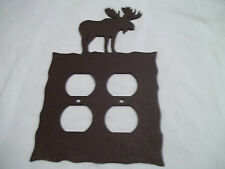 Moose Rustic Heavy Metal Brown Double Outlet Cover Decoration Lodge Cabin