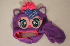 NEW Infant Girls Critter Hat Mittens Set Purple Owl Soft Fleece Cap Ear Flaps