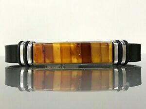 Amber Bracelet Natural Baltic Amber inlay mosaic black leather band unisex 8082