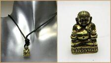 Halskette kleiner Buddha Anhänger sitzend Goldoptik Goa Lederband spirituell NEU