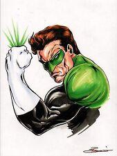ORIGINAL ART - GREEN LANTERN Artist Damon Bowie COLOR PRELIM HAND SIGNED JLA