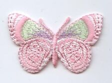 Iron On Embroidered Applique Patch Pink and Lime Green Butterfly Small