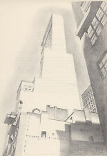 "CHARLES SHEELER 1939 WPA Print ""DELMONICO  BUILDING"" Vintage Artwork Sketch"