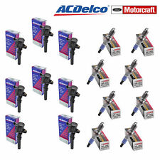 Lot of 8 AcDelco Coils  and 8 Motorcraft SP493 Spark Plugs for Ford Lincoln