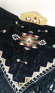 Western Fringe Cowgirl Multi Scarf Triangle BLACK Faux Suede Beaded Z05-2/22