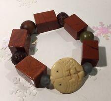 "Twin Fish DOUBLE WEALTH Red Jasper Glass Stone Stretch Bracelet 6.5"" 87.3g"