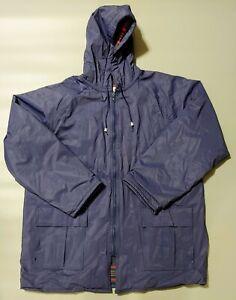 Misty Harbor Mens Sz Large Rain Coat LG Original Flannel Lined Hood Full Zip VTG