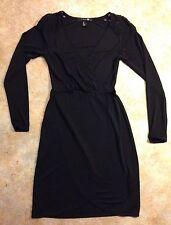 Forever 21, Women's Long Sleeve Black Dress w Lace Shoulders, Size S