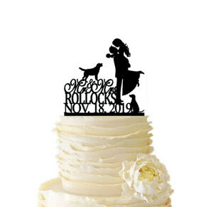 Couple with Dog Wedding Wake Topper Customized Last Name and Date Party Supplies