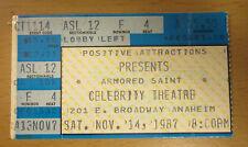 1987 Armored Saint Helloween Leatherwolf Grim Reaper Anaheim Concert Ticket Stub