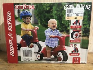 Radio Flyer Red Scoot 2 Pedal 2 in 1 Scooter Tricycle Model #68