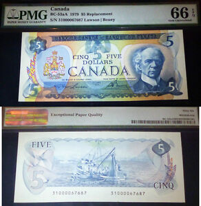 "REPLACEMENT BANKNOTE -  1979 $5 Bank of Canada BC-53aA   PMG  66 GRADE . ""31"""