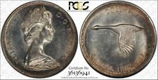 1967 CANADA GOOSE SILVER $1 DOLLAR PCGS MS62 Beautiful Red Color Toned Gem