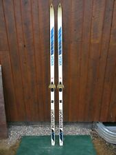 "VINTAGE Wooden 78"" Skis Has WHITE & BLUE Finish"
