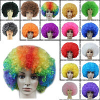 Adult Child Disco Afro Curly Wig Circus Fancy Clown Hair Football Fan Costume