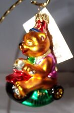 Radko First Ride Bear Riding Tricycle Glass Christmas Ornament 980910 New +Box