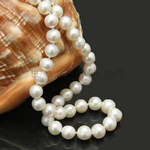 """Genuine 8-9mm white good luster natural freshwater cultured pearl necklace 17"""""""