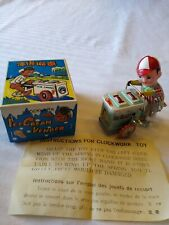 "Clockwork ""Ice Cream Vendor"" Windup Tin Toy Ms 405 w/Box Excellent Working Cond."
