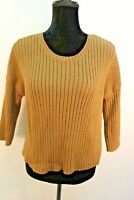 CAbi Luna Pullover Sweater Size S Small 3364 Ribbed Cotton Blend Brown Knit Top
