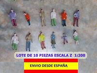 TRENES ESCALA Z 1:200 LOTE DE 10 PIEZAS FIGURAS HUMANAS ESCALA Z MUY BELLAS