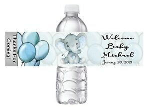 10 BLUE ELEPHANT DRIVE THROUGH BABY SHOWER FAVORS WATER BOTTLE LABELS WRAPPERS