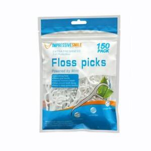 Impressive Smile Floss Picks Mint Flavor | Extra Strong | 150-Count | 2-Pack