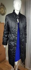 M & S Long quilted down filled black zip up coat UK16