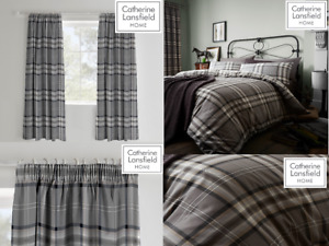 Catherine Lansfield Kelso Tartan Checked Charcoal Duvet Quilt Cover Set/Curtains