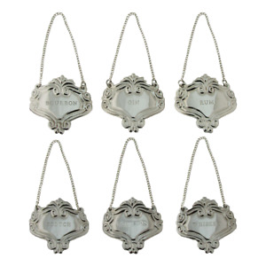 Silver Engraved Fancy Floral Decanter Labels Liquor Bottle Label Tag Set 6 Tags