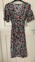 ZARA FLOWING FLORAL PRINT BUTTON DOWN SHIRT DRESS WITH PUFF SLEEVES SIZE M BNWT