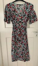 Zara Flowing Floral Print Button Down Shirt Dress With Puff Sleeves Size M