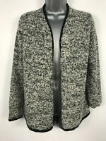 WOMENS FOREVER 21 BLACK & WHITE BOUCLE KNITTED CARDIGAN JUMPER SIZE UK MEDIUM M