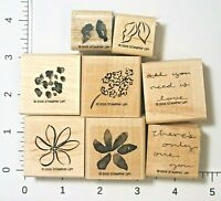 Stampin' Up! Painted Posies Set 8 Rubber Stamps Two-Step Stampin' Flowers 2005