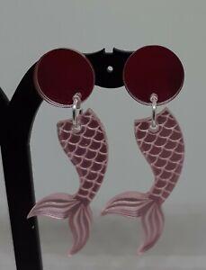 MERMAID TAIL stud earrings MIRRORED earrings quirky/retro FISH MERMAID earrings