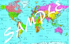 A2 SIZE GLOSSY LAMINATED - WORLD MAP ATLAS - EDUCATIONAL WALL POSTER - sATLAS