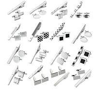 3pcs/set Stainless Steel Necktie Tie Clip Bar Clasp + Cufflinks Cuff Links Gift