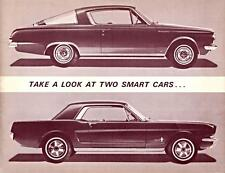 Old Print. 1965 Barracuda vs. Mustang - TAKE A LOOK AT TWO SMART CARS