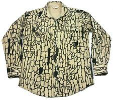 Vintage Cabelas Chamois Silent Trebark Camo Brown Tan Button Up Shirt XL
