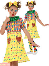 Girls Clown Costume Childs Circus Fancy Dress Kids Rainbow Funny Outfit Book Day