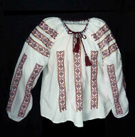 """Romanian Folk Blouse Embroidered Vintage 44"""" around chest boho. Red blue sequins"""