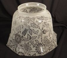 VICTORIAN ANTIQUE FROSTED ETCHED FLORAL GLASS GAS OIL LAMP SHADE