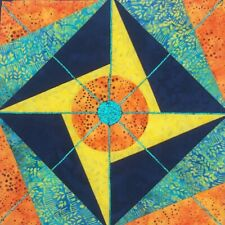 "Sparkling Bulls Eye Art Quilt 15"" Sq Abstract Art Piece Yellow Blue Orange"