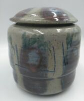 Stoneware Hand Made Pottery Sugar bowl Pot with Lid  Rustic Signed