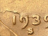 Retained Lamination Error 1939-S Lincoln Wheat Cent Extremely RARE