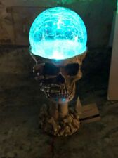 """Halloween Crystal Ball LED Skeleton Lighted Color Changing Night Light New 9"""""""