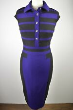 Beautiful women's Karen Millen purple & black capped sleeve fitted dress 10