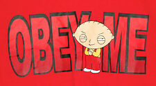 """Stewie Griffin """"Obey Me"""" Official Family Guy Brand T-Shirt - Large - Red"""