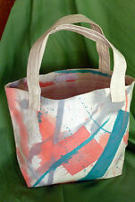 TOTE BAG Canvas ORIGINAL Pink & Turquoise HAND PAINTED Abstract UNUSED USA