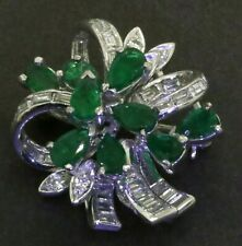 & emerald cluster flower brooch New listing